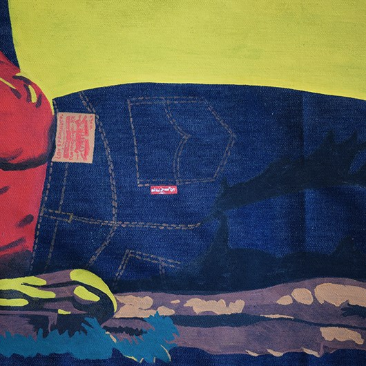 Shon Price Levi's Hand Painted Vintage Denim Banner Overall Cowboy 10.jpg