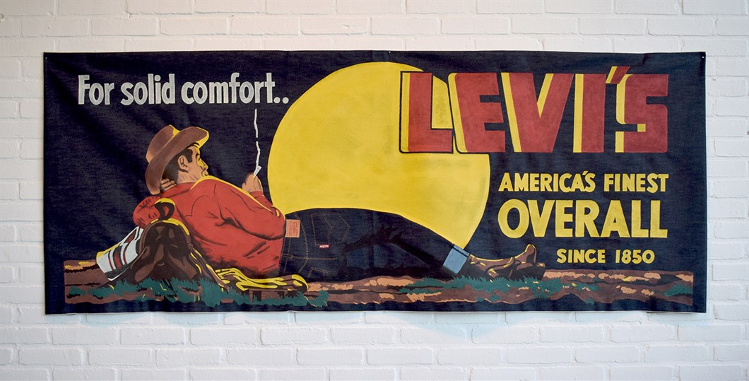 Shon Price Levi's Hand Painted Vintage Denim Banner Overall Cowboy 2.jpg