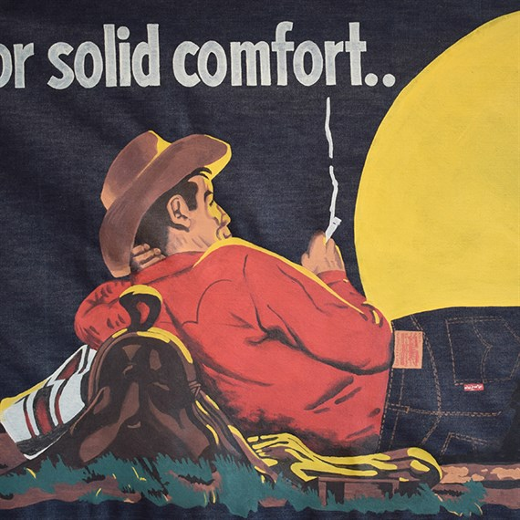 Shon Price Levi's Hand Painted Vintage Denim Banner Overall Cowboy 1.jpg