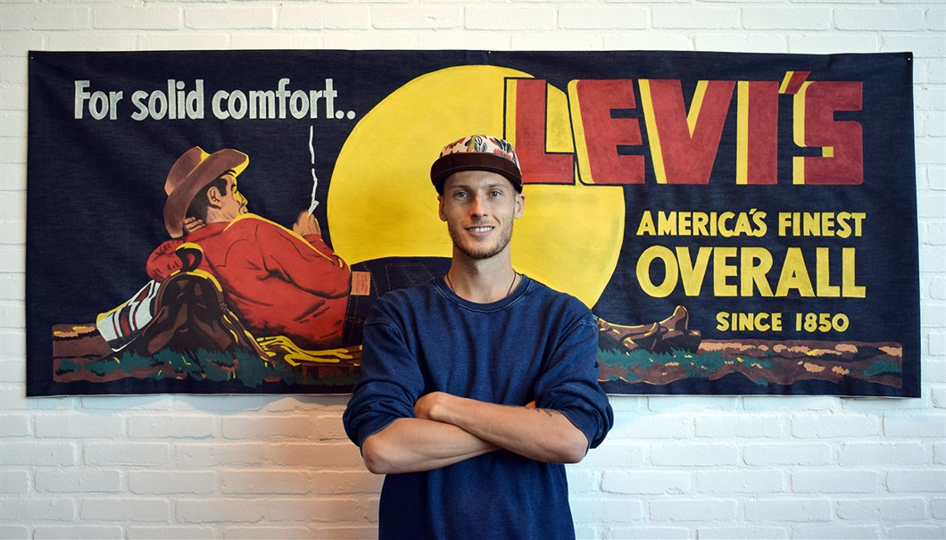 Shon Price Levi's Hand Painted Vintage Denim Banner Overall Cowboy 14.jpg