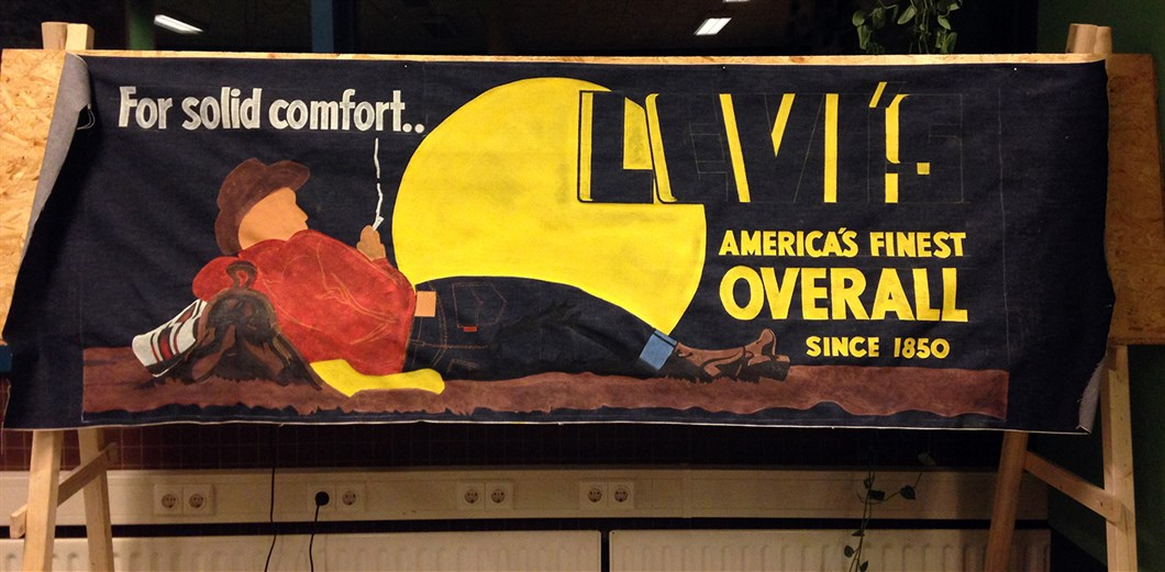 Shon Price Levi's Hand Painted Vintage Denim Banner Overall Cowboy 4.jpg